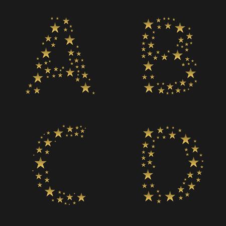 abcd: Golden stars alphabet. ABCD letters, Vector illustration Illustration