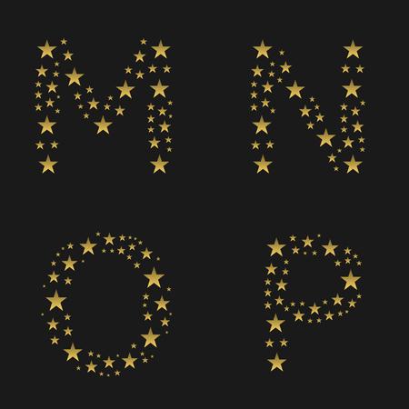 golden glow: Golden stars alphabet. MNOP letters, Vector illustration Illustration