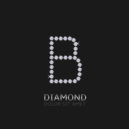 gemstones: Letter B with gemstones. Luxury Diamond alphabet, Vector illustration Illustration