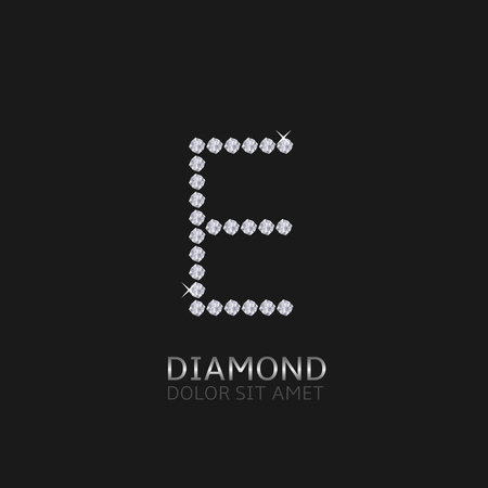 gemstones: Letter E with gemstones. Luxury Diamond alphabet, Vector illustration