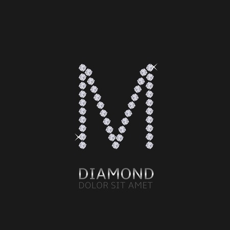shiny icon: Letter M with gemstones. Luxury Diamond alphabet, Vector illustration