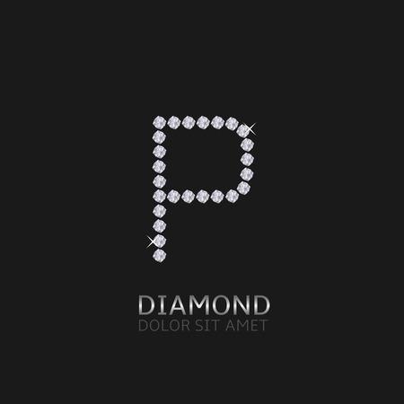 gemstones: Letter P with gemstones. Luxury Diamond alphabet, Vector illustration Illustration