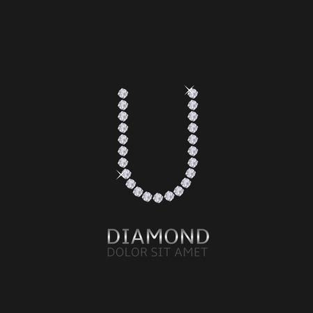 gemstones: Letter U with gemstones. Luxury Diamond alphabet, Vector illustration