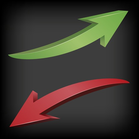 green arrows: Red and green arrows. Fall and growth symbols, Vector illustration