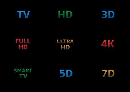 contrast resolution: TV labels.HD 3D 4K 5D 7D Full HD Smart TV Ultra HD