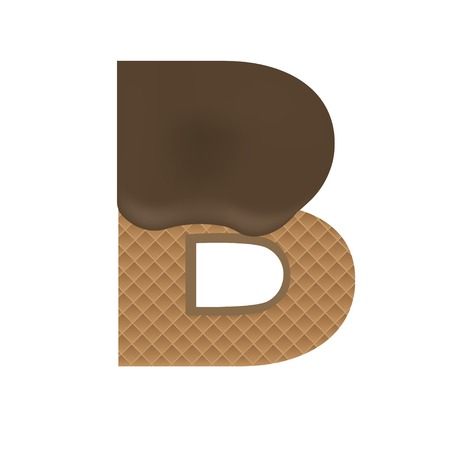 Wafer B letter with Melted Milk Chocolate. Vector illustration Фото со стока - 50676937