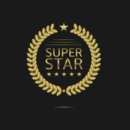 super star: Super star badge, Golden laurel wreath. Vector illustration