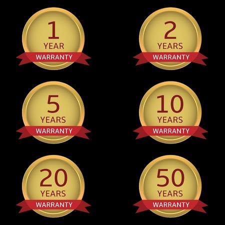 Golden Warranty badge set with red ribbons. Vector illustration