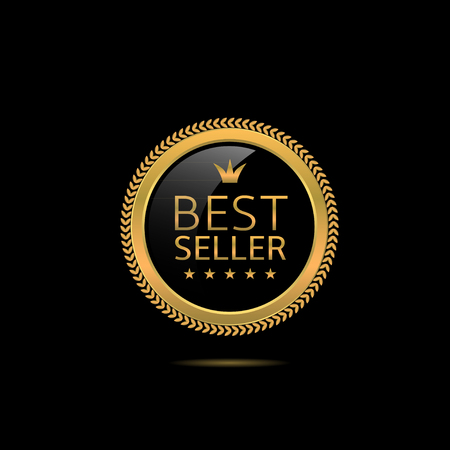 the best: Best seller label. Golden award badge, Vector illustration