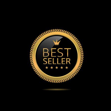 Best seller label. Golden award badge, Vector illustration