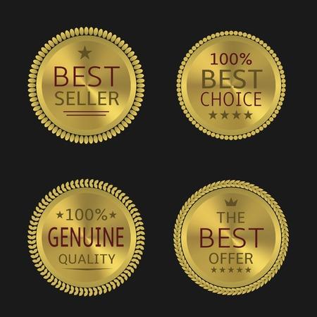 Best seller genuine quality best offer badge set. Golden labels, Vector illustration Illustration
