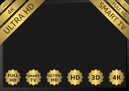contrast resolution: Golden TV labels.HD 3D 4K 5D 7D Full HD Smart TV Ultra HD
