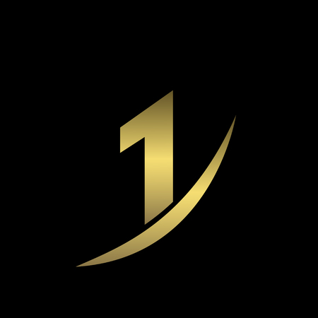 numero uno: En primer lugar icono, de oro número uno símbolo. ilustración vectorial