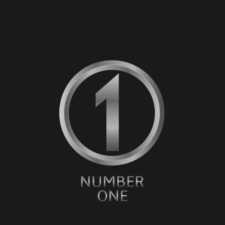 primer lugar: En primer lugar icono, un símbolo de plata número. ilustración vectorial