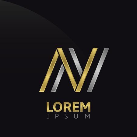 Letter N  . Brand symbol with golden and silver elements, Vector illustration Illusztráció