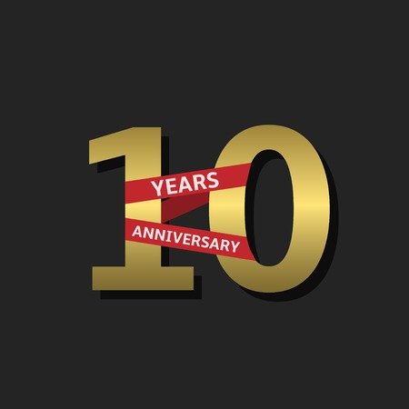 10 years anniversary: 10 years anniversary. Golden label with red ribbon, Vector illustration