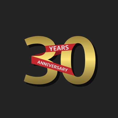 30 years anniversary. Golden label with red ribbon, Vector illustration