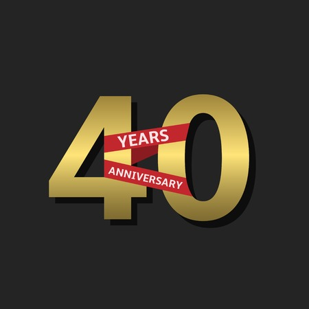 40 years: 40 years anniversary. Golden label with red ribbon, Vector illustration Illustration