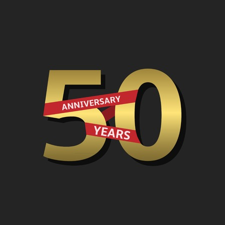 50 years jubilee: 50 years anniversary. Golden label with red ribbon, Vector illustration Illustration