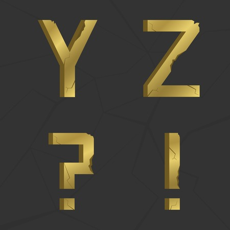 questionmark: Y Z letters, golden old alphabet with cracs and splits. Exclamation and question-mark