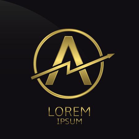 business letter: Letter A logo, golden luxury symbol. Vector illustration Illustration