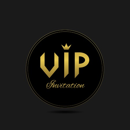 celebrity: Black Vip invitation card for celebrity, luxury symbol. Vector illustration Illustration