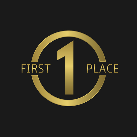 First Place symbol, Number one. Golden label