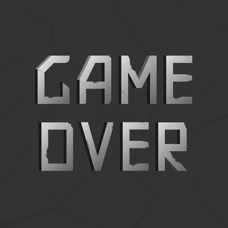 defeat: Game over silver old metal text. Vector illustration