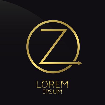 Letter Z  , golden luxury symbol. Vector illustration