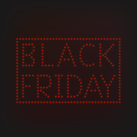 Black Friday banner with red lamps. Vector illustration