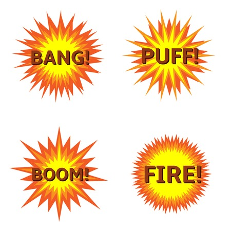 bung: Explosion Bung Puff Boom Fire icon set Vector illustration Illustration