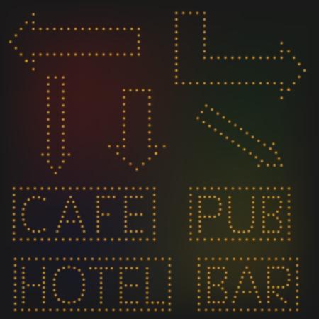 night bar: Yellow night neon lights signs banners. Cafe Pub Hotel Bar Arrow set Illustration