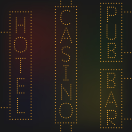 night bar: Yellow night neon lights signs banners Casino Pub Hotel Bar Illustration