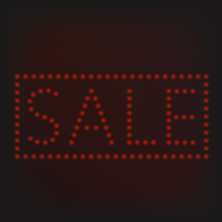 neon sign: Red night neon lights sign banner. Sale