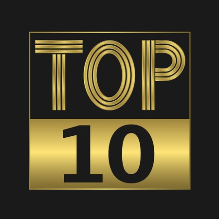 Top ten golden sign for music video or other content Иллюстрация