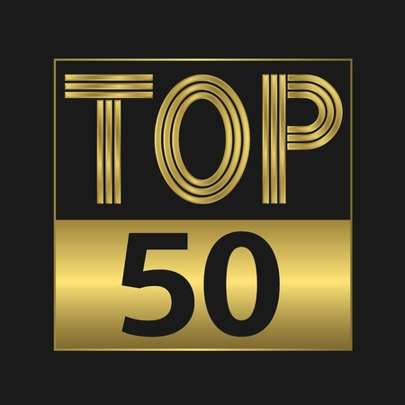 top 50 icon: Top fifty golden sign for music video or other content Illustration