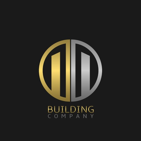 building trade: Building company logo, silver and golden colours. Vector illustration Illustration