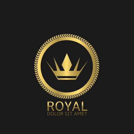 Royal label. Gouden kroon en lauwerkrans