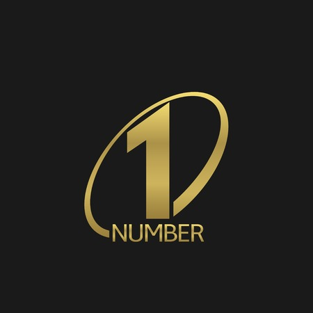 Golden number one icon. Champion winner leader symbol Vector Illustration