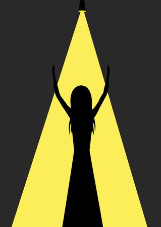 singer silhouette: Woman celebrity singer silhouette, black background.