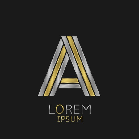 alphabet letter a: Letter A logo with golden and silver elements for your brand company Illustration
