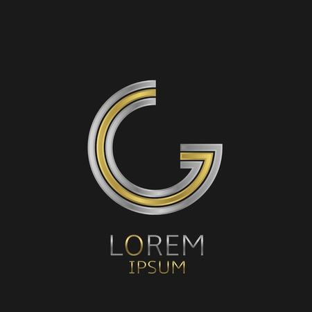 Letter G logo met gouden en zilveren elementen voor uw merk onderneming Stock Illustratie