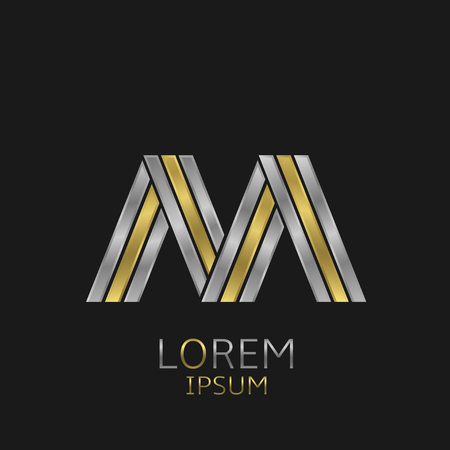 alphabet letter: Letter M logo with golden and silver elements for your brand company Illustration