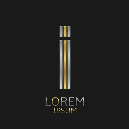 letter i: Letter I logo with golden and silver elements for your brand company