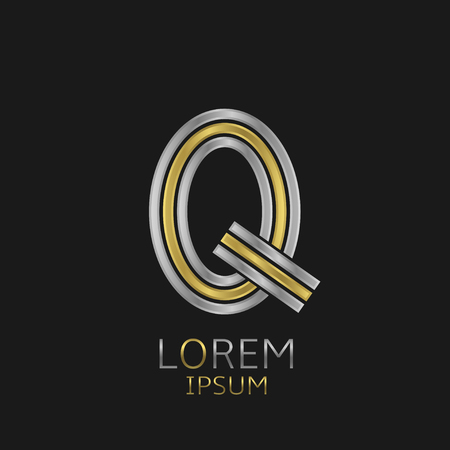 letter q: Letter Q logo with golden and silver elements for your brand company Illustration