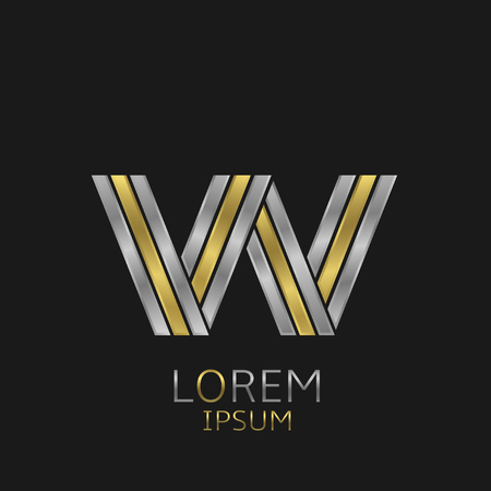 metal alphabet: Letter W logo with golden and silver elements for your brand company