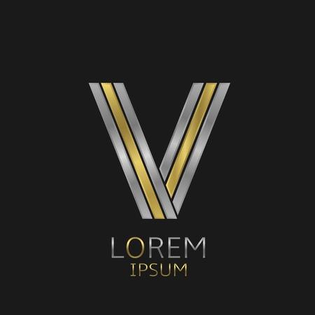 Letter V logo met gouden en zilveren elementen voor uw merkbedrijf Stock Illustratie