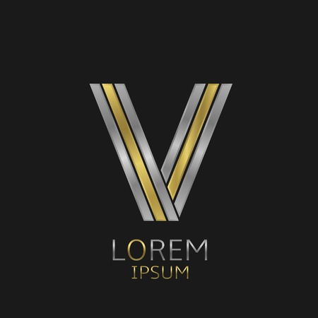 Letter V logo with golden and silver elements for your brand company