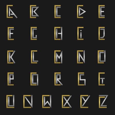 C y otras letras del alfabeto del monograma Ilustración de vector