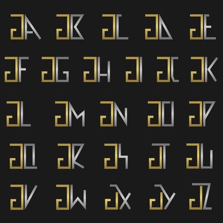 G and other alphabet letters monogram Vektoros illusztráció